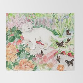 White Cat in a Garden Throw Blanket