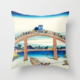 Tardis At The Bridge Throw Pillow