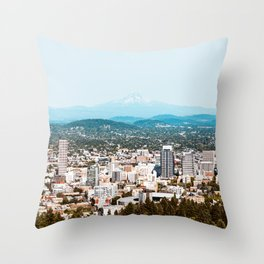 Portland from Above Throw Pillow