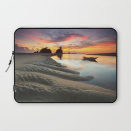 Canoe on the Water at Sunset Laptop Sleeve