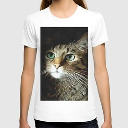 Tabby Cat With Green Eyes Isolated On Black T-shirt