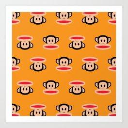 Julius Monkey Pattern by Paul Frank - Orange Art Print