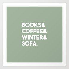Books, coffee, winter, sofa Art Print