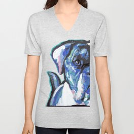 American Bulldog Pop Art by Lea Unisex V-Neck