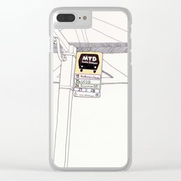 A bus stop in Santa Barbara Clear iPhone Case