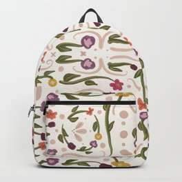Ivory White Hand Painted Bohemian Flower Design Backpack