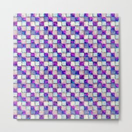 Purple Blue and Beige Patchwork Metal Print