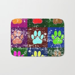 Distressed Dog Paws In Squares Bath Mat