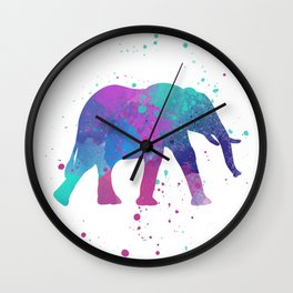 Elephant Watercolor I Wall Clock