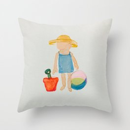 Toddies Summer Beach Holiday Baby Girl Throw Pillow