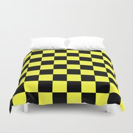 Black and Yellow Checkerboard Pattern Duvet Cover