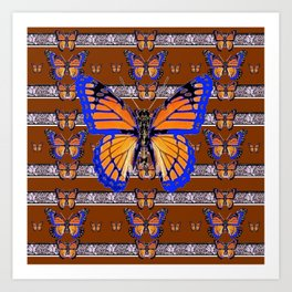 COFFEE BROWN BLUE MONARCHS BUTTERFLY ART Art Print