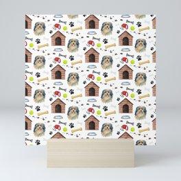 Lowchen Dog Half Drop Repeat Pattern Mini Art Print