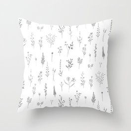 Wildflowers - Grey Flowers Throw Pillow