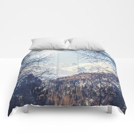 View of Snow Capped Mountains - Winter Peaks Comforters