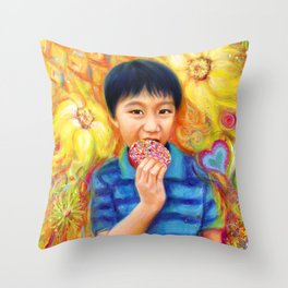 The Donut King Throw Pillow