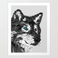 gray Art Prints featuring Gray wolf by Roland Banrevi