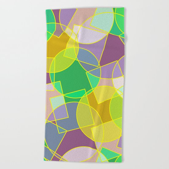 Colorful abstract geometric pattern Beach Towel