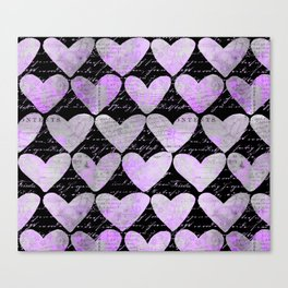 Pink Purple Heart Typography Pattern Canvas Print