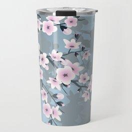 Dusky Pink Grayish Blue Cherry Blossom Travel Mug