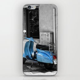 Blue Vespa in Venice Black and White Color Splash Photography iPhone Skin