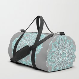 Teal and Aqua Lace Mandala on Grey Duffle Bag