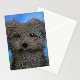 Scruffy Yorkie Dog Portrait Stationery Cards