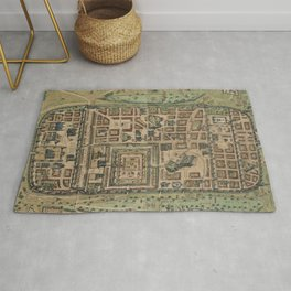 Vintage Map of Jerusalem Israel (1584) Rug