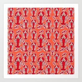 Lobsters in a Pattern Art Print