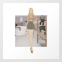 Stylized Signature Shopping Fashion Illustration A Art Print