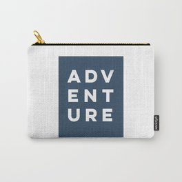Navy Blue Modern Adeventure Typograpy Carry-All Pouch