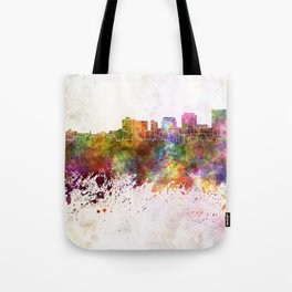 Dayton skyline in watercolor background Tote Bag