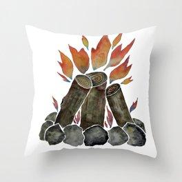 Campfire Watercolor. Throw Pillow