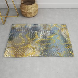 Faux gold snake skin texture on  marble Rug