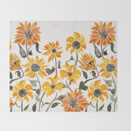 Sunflower Watercolor – Yellow & Black Palette Decke