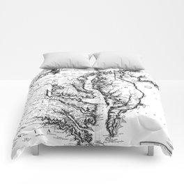 Vintage Map of The Chesapeake Bay (1719) BW Comforters