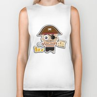 pirate Biker Tanks featuring PIRATE by AnishaCreations