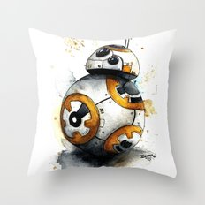 BB8 bb-8 droid Watercolor art Print Star Decor paint The Force Awakens Wars Throw Pillow