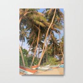 Boats on Palm Tree Lined Mirissa Beach - Sri Lanka Metal Print