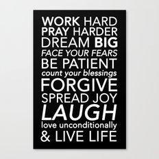 Work Pray Dream Canvas Print