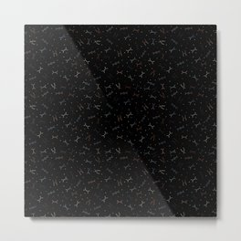 Ditzy Feynman diagrams and Particles on Black Metal Print