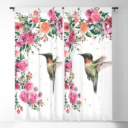 Hummingbird and Flowers Watercolor Animals Blackout Curtain