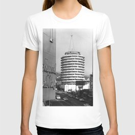 Capital Records Building, Los Angeles, California black and white photograph / black and white photography T-shirt