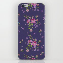 Cross stitched roses iPhone Skin