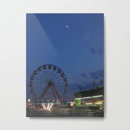 Amusement Park At Night Metal Print