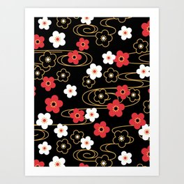 Black Sakura Kimono Pattern Art Print