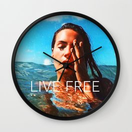 Positive tropical motivation: Live free #17 Wall Clock