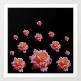 ROMANTIC ANTIQUE PINK ROSES ON BLACK Art Print