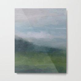 Gray Blue Navy Indigo Grass Green Abstract Painting Wall Art Prints, Nature Horizon, Modern Wall Art Metal Print