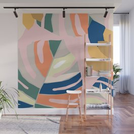 Monstera leaf Jungle mid century modern paper collage Wall Mural